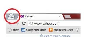 Ikon Perisik Melambangkan Incognita Browsing Sedang Aktif