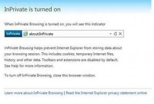 Mesej InPrivate Browsing Dalam Internet Explorer