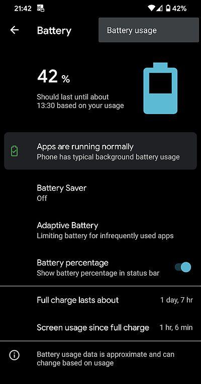 periksa penggunaan battery