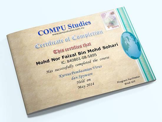 sijil kursus basmi virus spyware