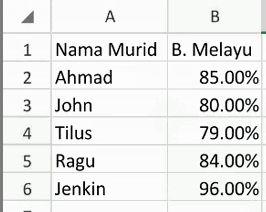 excel first data set