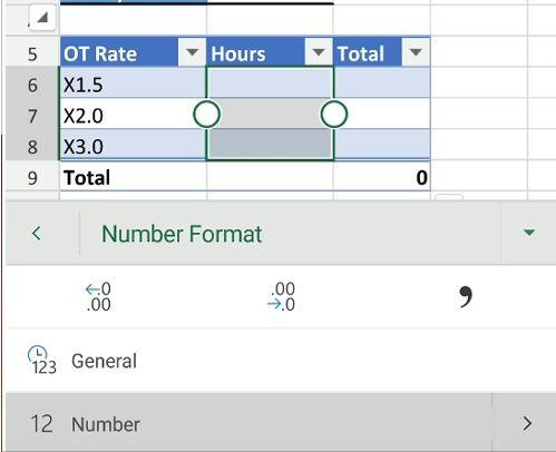 excel format ot hours