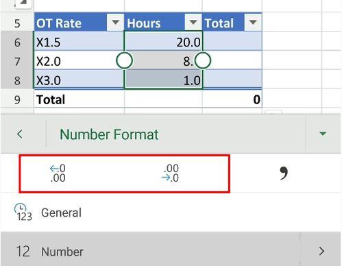 excel ot hours decimal